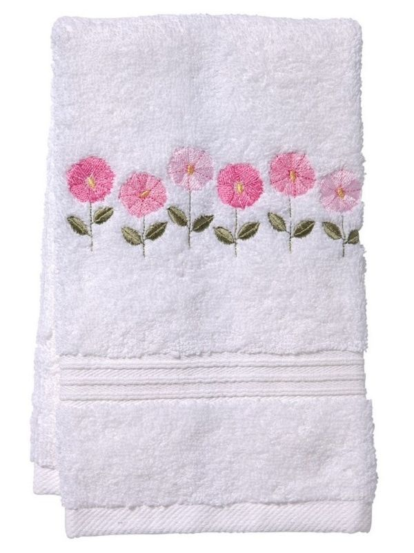 DG70-ROFPK Guest Towel, Terry - Row of Flowers (Pink)