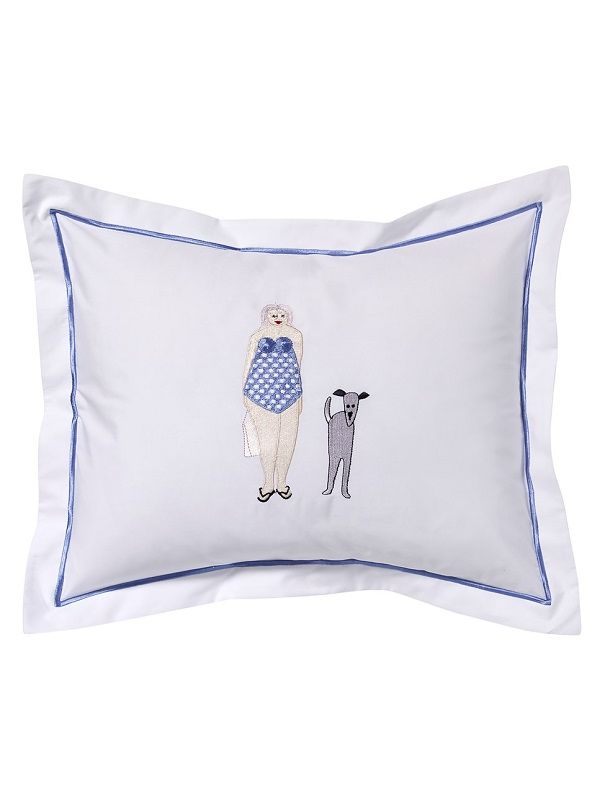 DG78-BLDBL Boudoir Pillow Cover - Bathing Lady & Dog (Blue)
