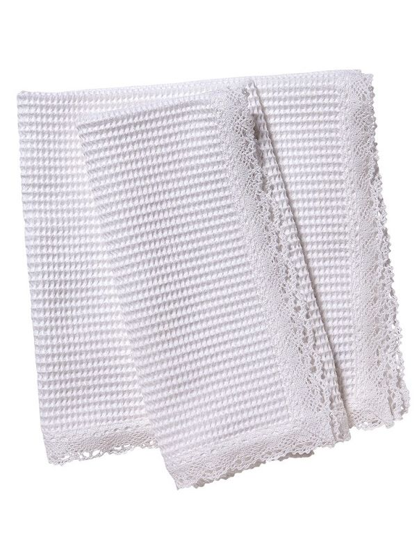 Dinner Napkins** - White Waffle Weave, Lace Trim (Set of 2)
