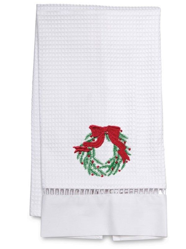 DG02-CWGR** Guest Towel, Waffle Weave - Christmas Wreath (Green)
