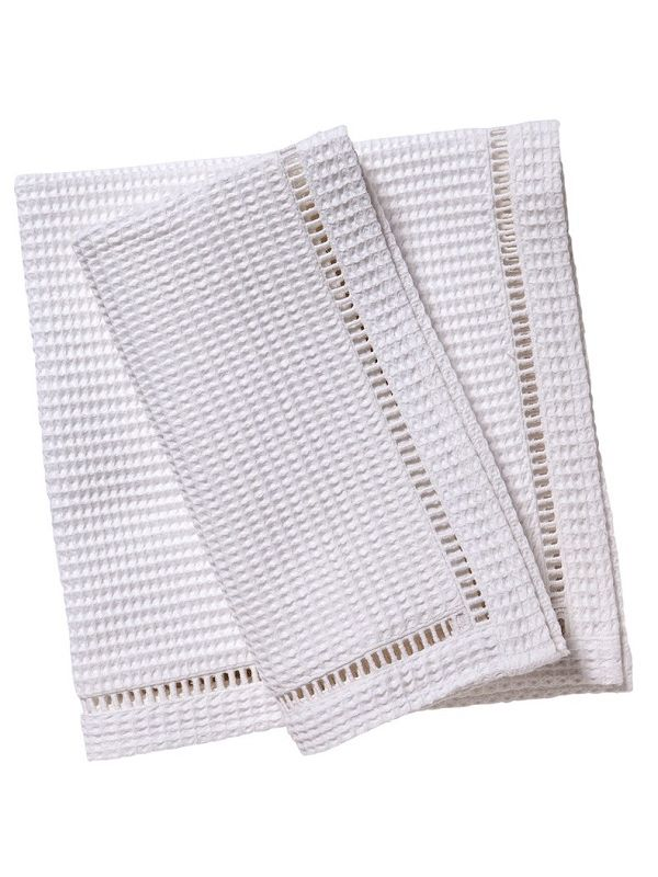 Dinner Napkins** - White Waffle Weave, Ladder Lace Trim (Set of 2)