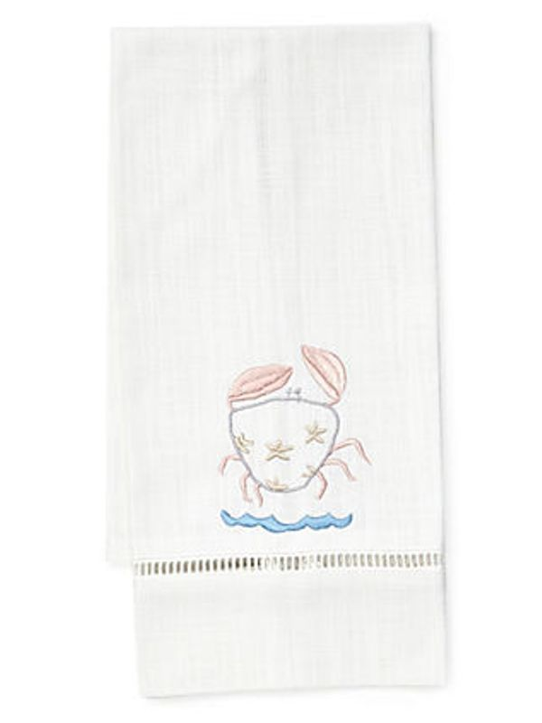 DG21-HCPK Guest Towel, White Linen & Satin Stitch - Happy Crab