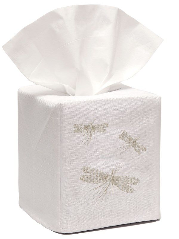DG17-THDCR-C Tissue Box Cover, Linen Cotton - Three Dragonflies - Classic (Cream)