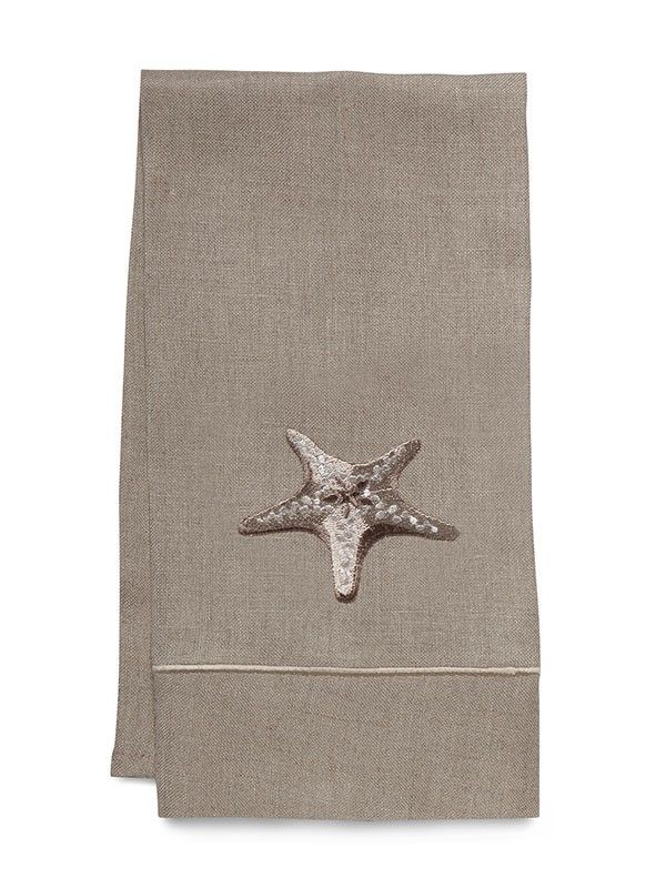 DG33-MSFBE** Guest Towel, Natural Linen - Morning Starfish (Beige)