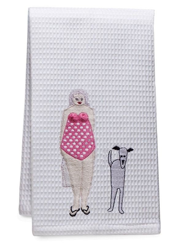 DG03-BLDPK** Guest Towel - Waffle Weave - Bathing Lady & Dog (Pink)