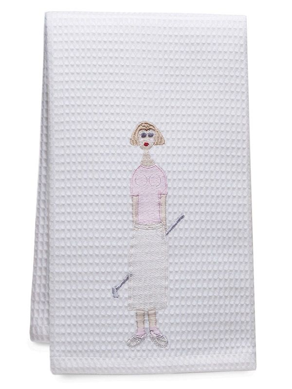 DG03-GLPK** Guest Towel - Waffle Weave - Golf Lady (Pink)