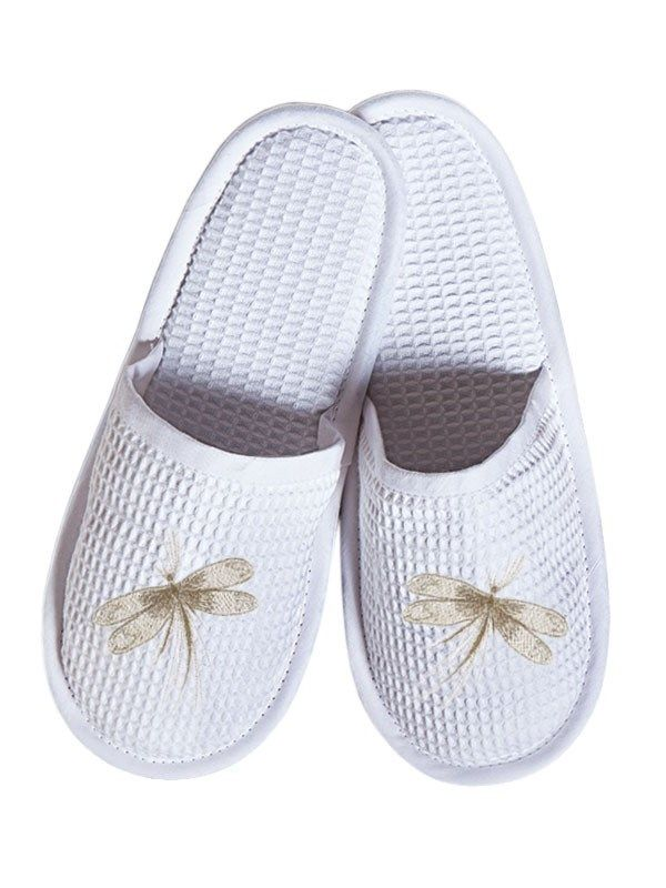 DG05-DFBE-C Slippers, Waffle Weave - Dragonfly, Classic (Beige)