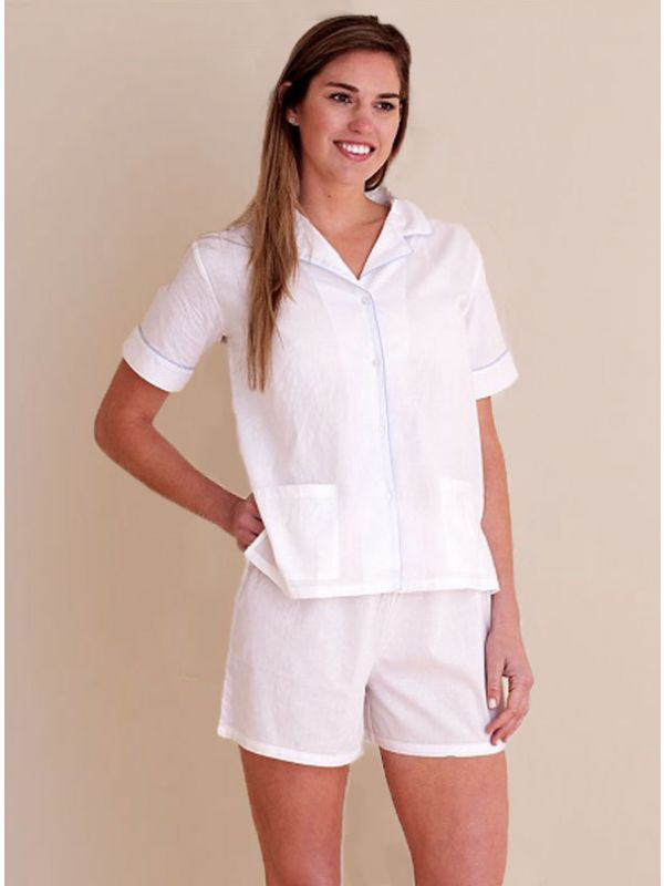 Iris Cotton PJ Set, Blue Piping** - EL319