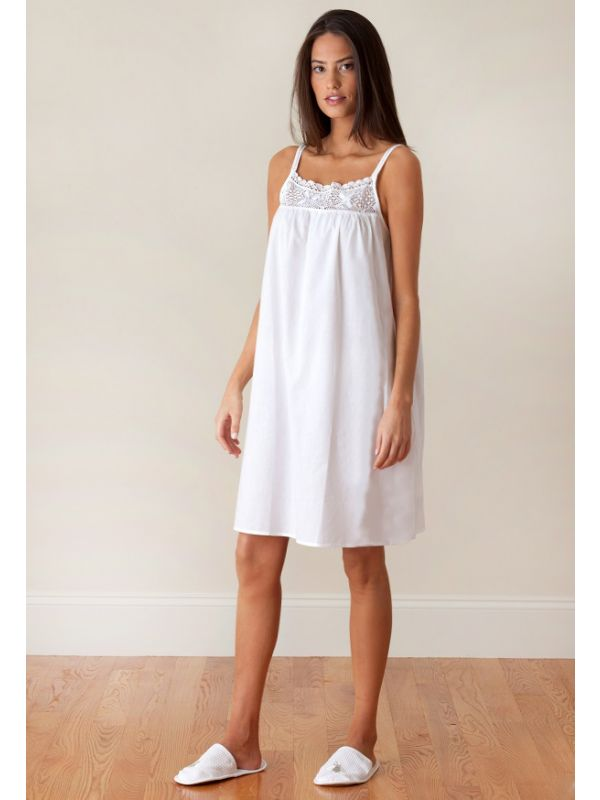 Jenn White Cotton Nightgown, Lace** - EL311