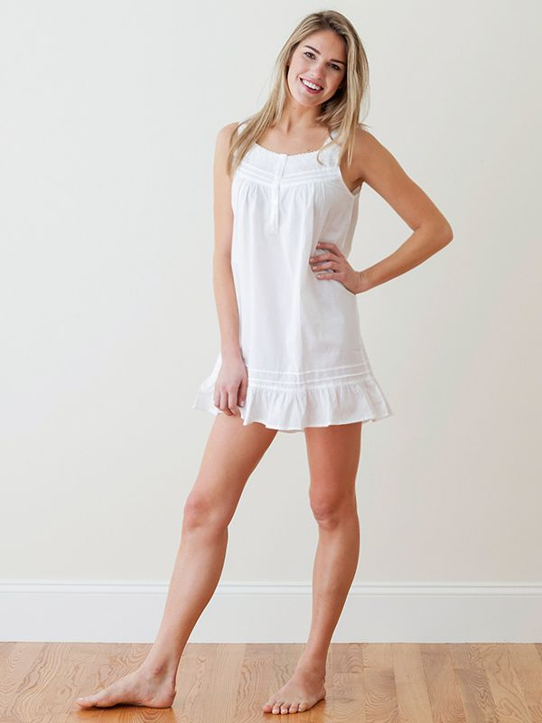 Laura White Cotton Nightgown** - EL287