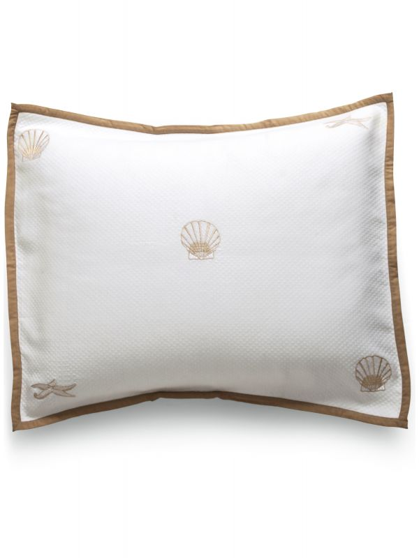 Sham,(King)** - Embroidered, Scattered Scallop & Starfish (Beige)