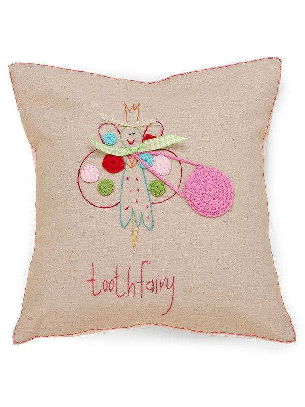 "LL651-F** Tooth Fairy Pillow 16"" x 16"", Natural Linen - ""tooth fairy"" (Applique & Crochet)"
