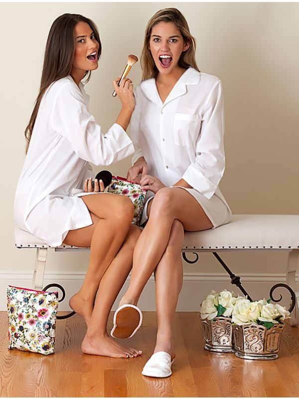 Marjorie White Cotton Nightshirt, White Piping** EL251