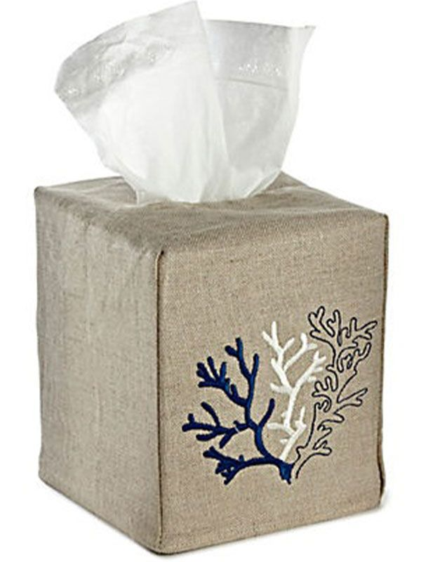 DG23-CLNA Tissue Box Cover -  Natural Linen - Coral (Navy)