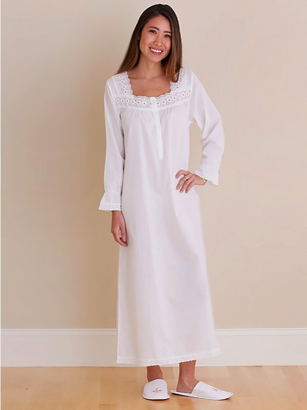 Susan White Cotton Nightgown, Embroidered** - EL316